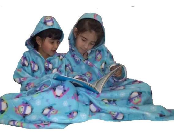 Cobertor Com Mangas Fechado Com Capuz Infantil - Kit 4 Pçs