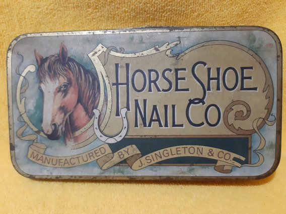 Antigua Caja Lata De Chapa Horse Shoe Nail Co.