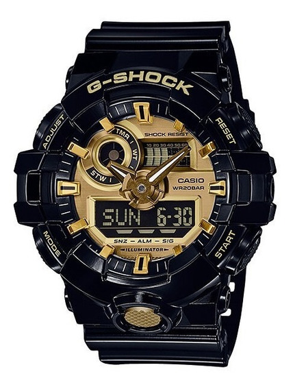 Relógio Casio G-shock Ga 710gb 1a Ga 710 Black Gold