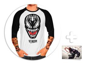 Envío Gratis Playera Raglan Caballero Venom + Sticker Mod. 2