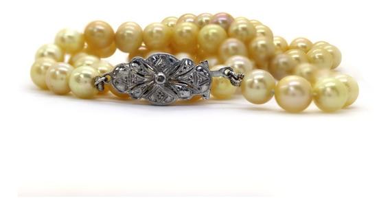 Colar Pérola De Água Salgada Diamantes Ouro 18k 55cm J22653