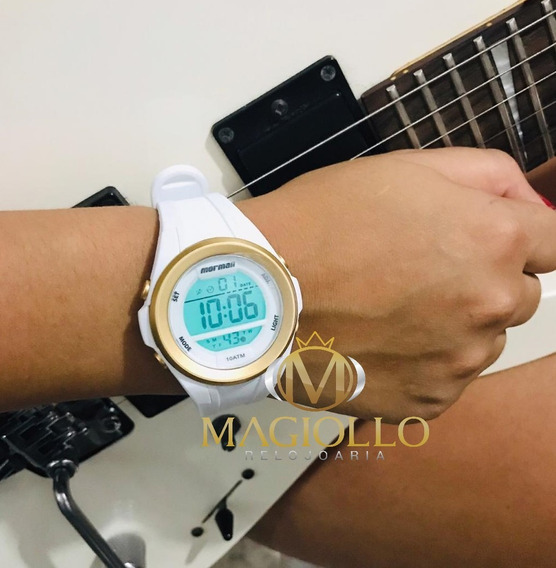 Relógio Digital Feminino Pulseira Branca Com Dourado Leve Mormaii Mo3800aa/8b Original C/ Garantia
