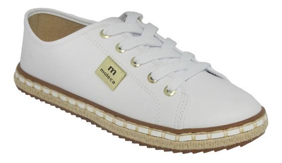 Tenis Feminino Moleca Branco Casual Sola Corda 100% Original