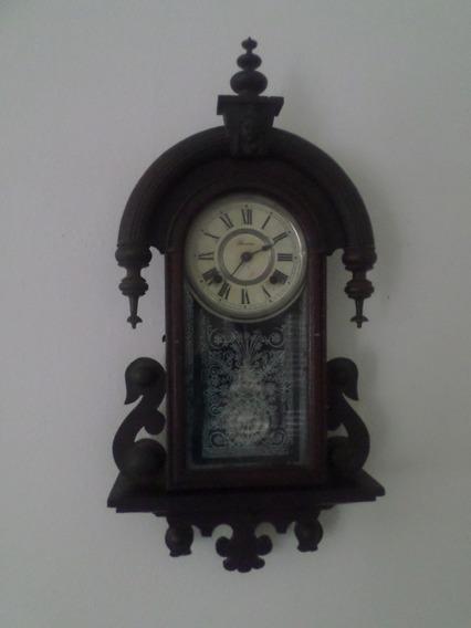 Antiguo Reloj De Péndulo Ansonia Con Sonoridad.caja De Roble