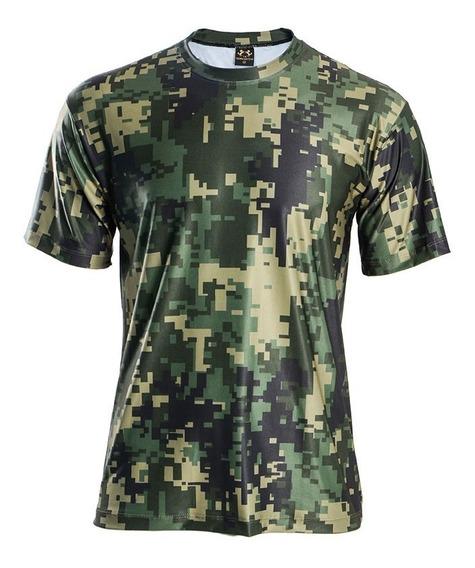 Camiseta Masculina Camuflado Estampada Dry Fit Uv50+