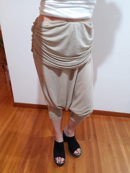 Pantalon Bermuda Babucha Capri Maria Cher Camel Suelto T2