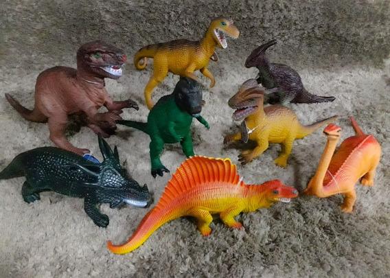 Kit Com 8 Brinquedos Dinossauro Borracha Tamanho Grande !