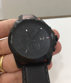 Relógio Original Tommy Preto Couro Legítimo Semi Novo