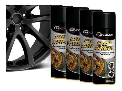Tinta Spray Envelopamento Liquido Dip Wheel 500ml 4 Un Preto