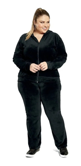 Conjunto Plush Adulto Feminino Agasalho Capuz Frio Veludo