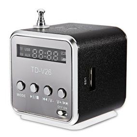Td - V26 Mini Alto-falante Som Lcd Portátil W Rádio Fm - Pre