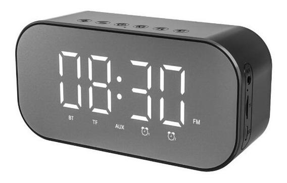 Caixa De Som Rádio Relógio Despertador Bluetooth Preto S5