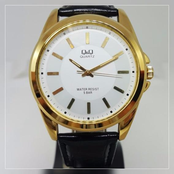 Relógio Q&q Masculino Grande Clássico Social Couro Preto