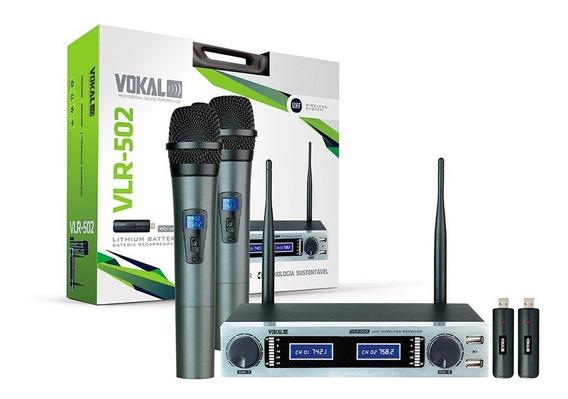 2 Microfones Dinamicos Vokal Vlr-502 Duplo Sem Fio Palestra