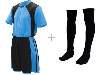 Jogo De Uniforme Completo Camisa Calção Meião 17 + 02 Pçs