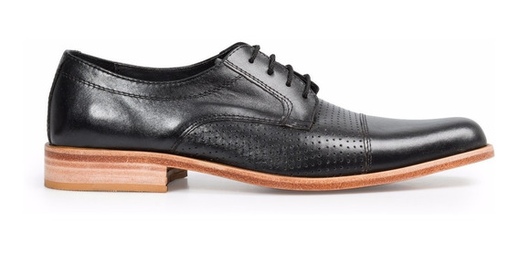Tremendo Zapato De Hombre Sport Cuero Negro Detalle Picado