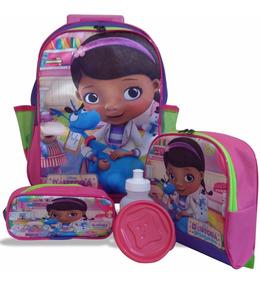 Kit Escolar Infantil Mochila Doutora Brinquedos Rodinhas