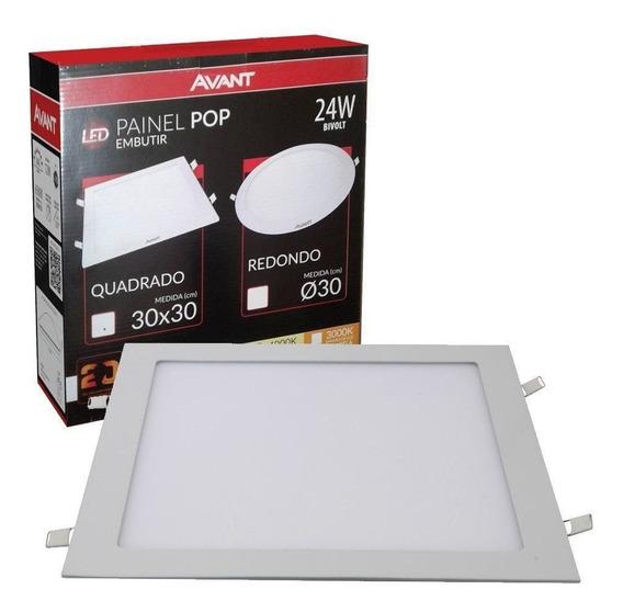 Plafon Led Quadrado 24w Painel Embutir Slim Avant 4000k