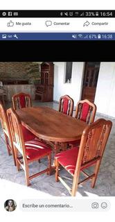 Mesa Con 6 Sillas Tapizadas