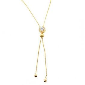 Colar Ponto De Luz Gravatinha Cravejado Folheado Em Ouro 18k