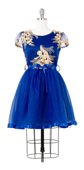 Vestido De Fiesta Corto, Corte Princesa, Lazo Cintura.