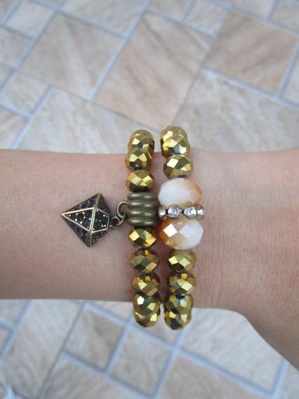 Conjunto De Pulseira Cristal Dourado Feminina Diamante