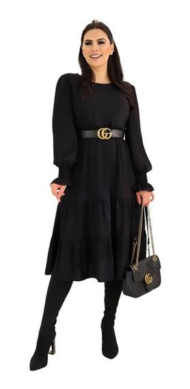 Vestido Midi Preto Manga Moda Feminina Evangélica