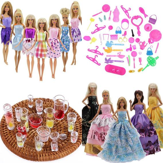 Kit Lote Acessórios P/ Boneca Barbie Jogo Chá Roupas Bolsas