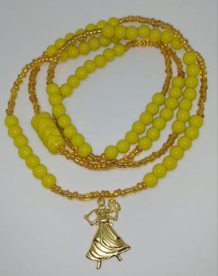 Guia De Iansã Amarelo 307 Contas E Miçangas C Pingente