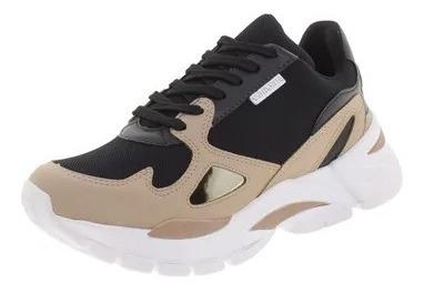 Tênis Feminino Dad Sneaker Via Marte - 193452 Preto/bege