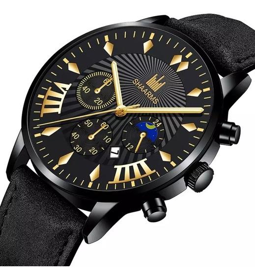 Relógio Luxo Masculino Pulseira De Couro Promoçao