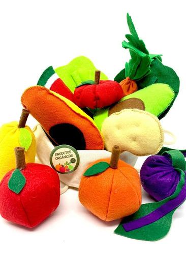 Imagem 1 de 6 de Comidinha Em Feltro Kit Pedagógico Frutas Legumes Com Ecobag