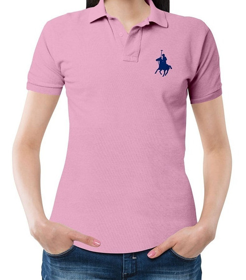 Playera Polo Club Dama Caballo Grande - Rosa