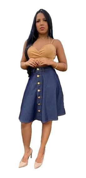 Saia Gode Jeans Social Moda Evangelica Feminina Barato