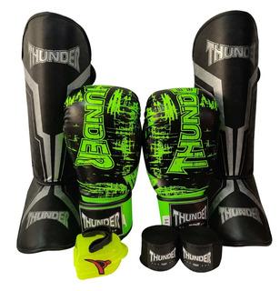Kit Muay Thai Luva 14oz Caneleira Band Bucal Thunder Pulser