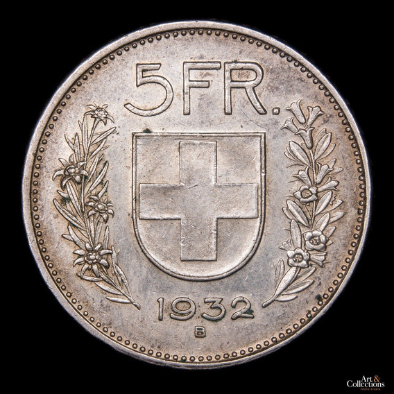 Ch C/ Suiza - 5 Francos 1932 Plata (2) Km#40