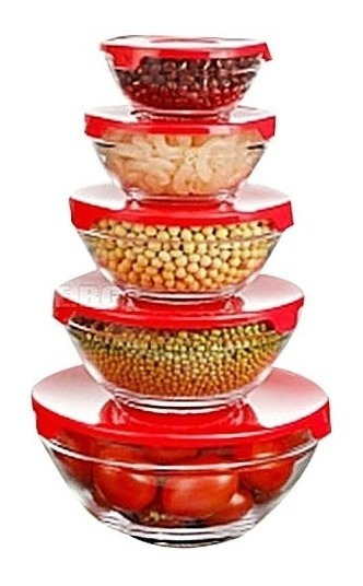 Set 5 Bowls De Vidrio Con Tapa Colores Heladera Microondas