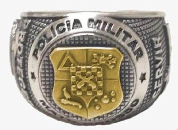 Anel P M Mato Grosso - Pmmt - Prata Teor 950 - Detalhe Ouro