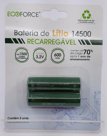 Kit 2 Cart Bateria Lítio Recarregável Solar 600mah 3,2v - Aa