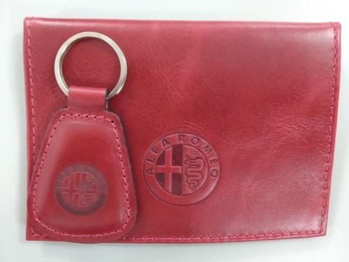 Imagem 1 de 10 de Chaveiro + Porta Documento Couro Legítimo Alfa Romeo