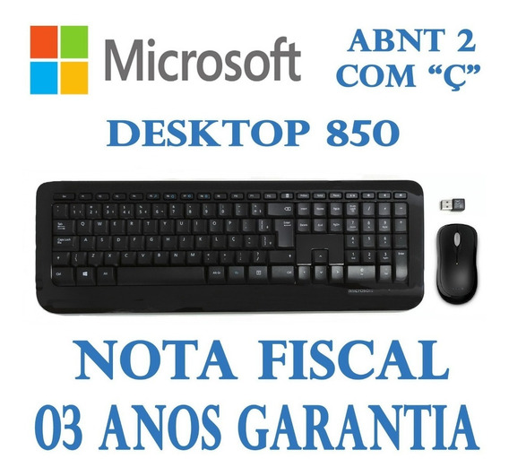 Kit Teclado E Mouse Microsoft Wireless Desktop 850 Py9-00021