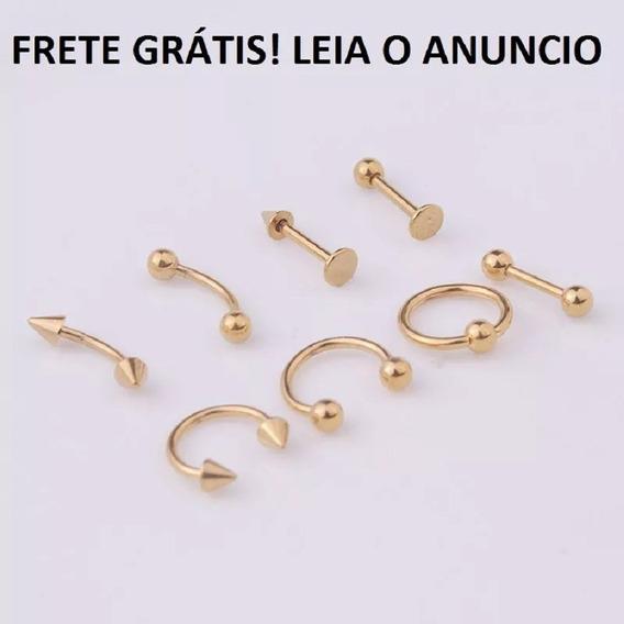 Piercing 8 Peças Aço Inoxidável Em Ouro+brincos Frete Gratis
