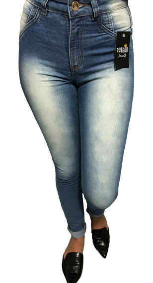 Calça Jeans Feminina Azul Com Lycra Cintura Alta Skinny Moda