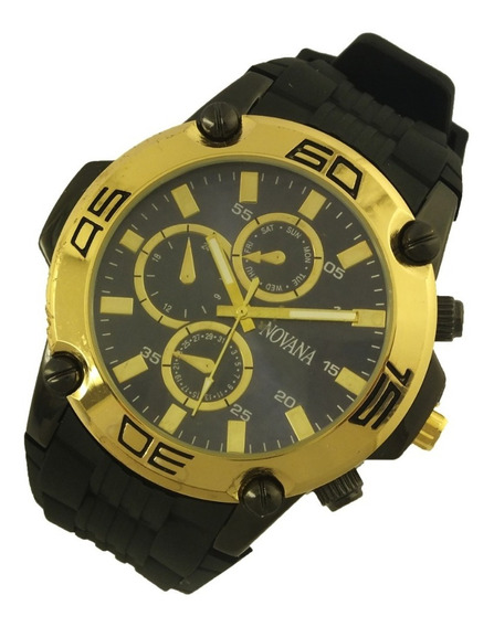 Relógio De Pulso Masculino Novana Pulseira Em Borracha B5719