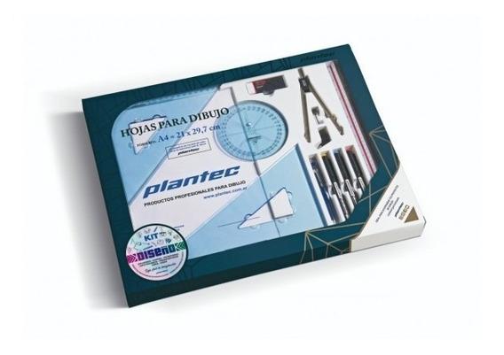 Kit Diseño Plantec +escuadras +portaminas +microfibra +block