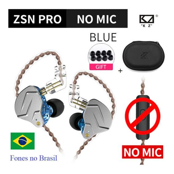 Fone Kz Zsn Pro Sem Mic Original New Lacrado No Brasil + Bag
