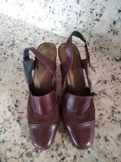 Zapatos Para Dama Nobuk Y Gamuza Tacon Medio