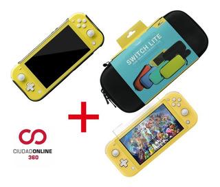Kit X3 Funda Nintendo Switch Lite +acrilico +vidrio Templado