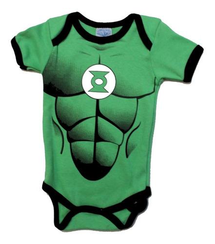 Imagen 1 de 5 de Pañalero Linterna Verde  Disfraz Con Musculos - Ropa De Bebe