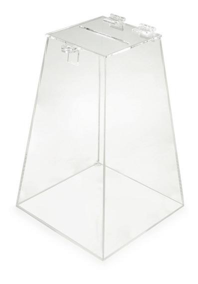 Urna Acrílico Piramide 20x20x30cm Transparente Sorteio Fecho